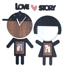 Boy and Girl Handcrafted Non Ticking Silent Wall Clock - Moromall