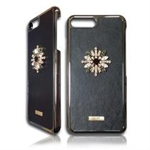 CHIC BLACK Swarovski Crystals and Real Leather Case for IPhone 7+ - Moromall