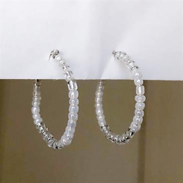 Handmade White Pearly Bead Earrings - Moromall